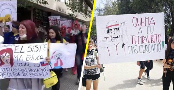 ¡Joya! Jóvenes otakus de Chile salen a manifestarse vestidos de sus personajes favoritos