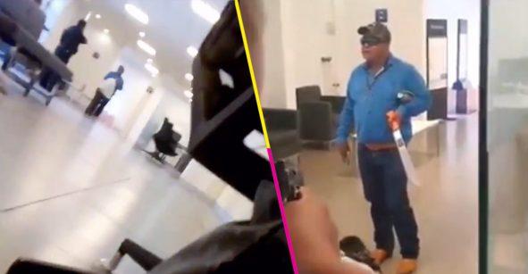Abaten a sujeto que irrumpió en banco de Pachuca con machete y pistola; exigía hablar con Trump y AMLO