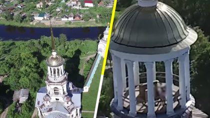Un mundo nos vigila: Drone capta a pareja echando pasión en una iglesia