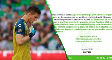 La Asociación Mexicana de Futbolistas anuncia que Veracruz no jugará la jornada 14