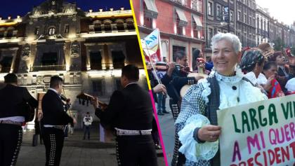 Mariachis, Adelitas y hasta un supuesto reportero le cantan 'las Mañanitas' a AMLO