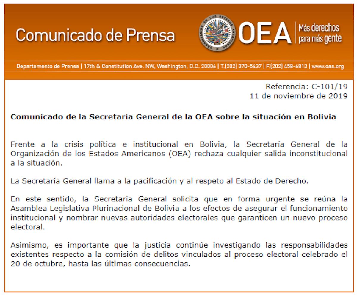 Comunicado-OEA-bolivia-elecciones