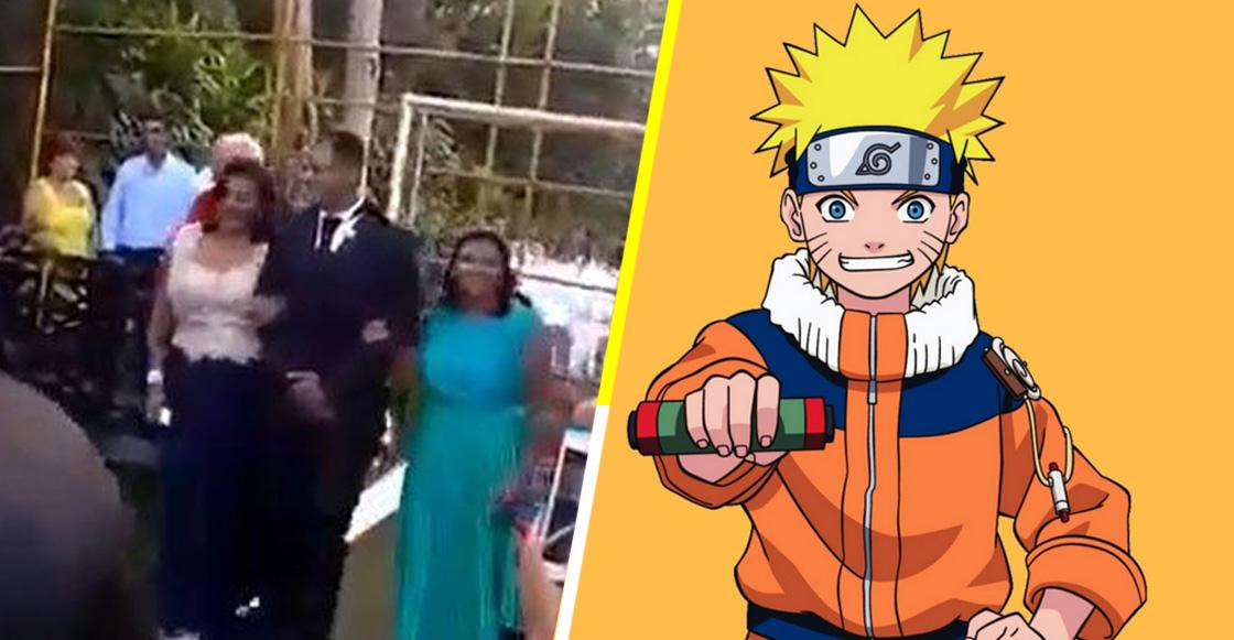 """¿Mensaje subliminal? Pareja llega al altar el día de su boda con canción sad de """"Naruto"""""""