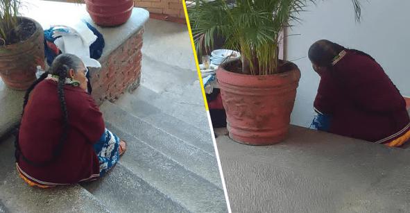 Y nadie hace nada: Captan la tristeza de una artesana en Michoacán al no vender sus servilletas