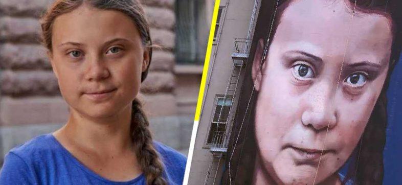El controvertido mural de Greta Thunberg que fue pintado con aerosoles