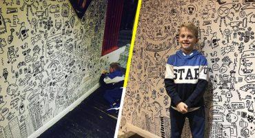 Aaaw: Niño que era regañado por dibujar en clases es contratado para decorar un restaurante