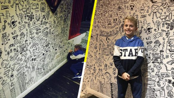 Niño que era regañado por dibujar en clases es contratado para decorar un restaurante