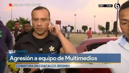 Presuntos choferes agreden a reportero tras balacera en base de combis de Coacalco