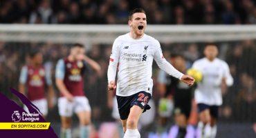 Liverpool le remontó al Aston Villa en 5 minutos con goles de Robertson y Sadio Mané
