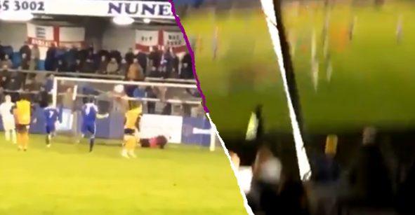 Portero cobra penal para su equipo y destruye una lámpara de estadio