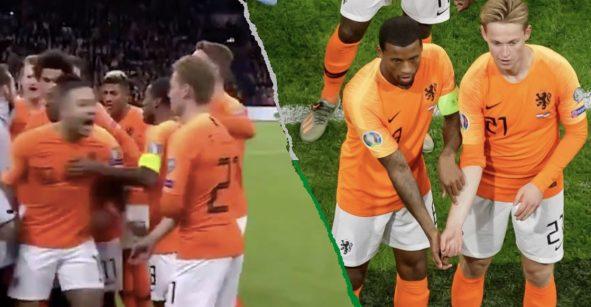 El festejo de Wijnaldum y De Jong en contra del racismo que se hizo viral