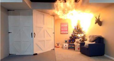 En menos de 10 segundos un árbol de Navidad puede incendiar tu casa
