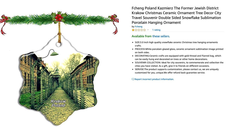 Retiran productos navideños alusivos a Auschwitz en Amazon
