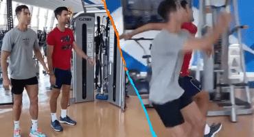El video de Cristiano Ronaldo enseñándole a saltar a Djokovic que no puedes dejar de ver