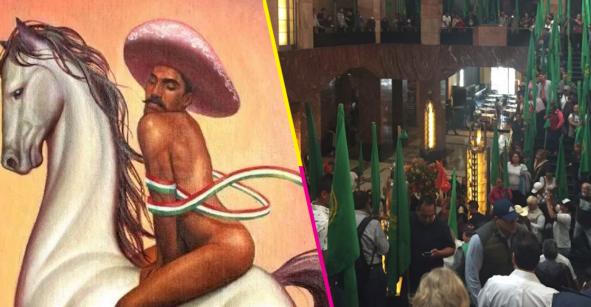 Campesinos se lanzan al Palacio de Bellas Artes y exigen quemar 'La Revolución' de Zapata