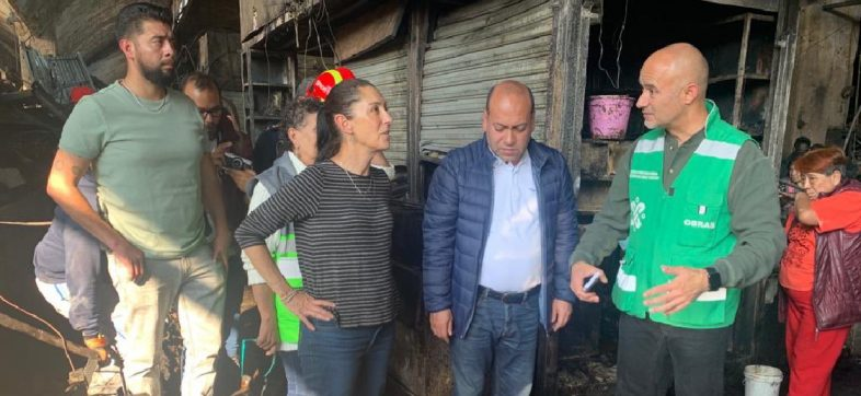 Recorre Sheinbaum Mercado de la Merced y ofrece todos los recursos necesarios para reconstrucción