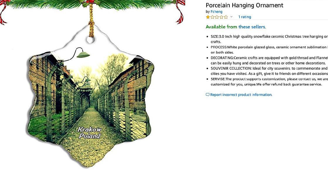Amazon retira de su web unos adornos navideños con imágenes de Auschwitz