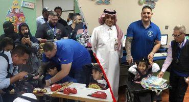 Andy Ruiz pausó su preparación para convivir con niños en Arabia Saudita