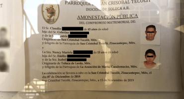 Indignación por la boda de una menor de edad con un hombre de 45 años en Edomex