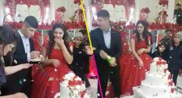 La boda más sad del mundo: Novio estrella una botella y termina aventando el pastel