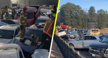 Carretera congelada provoca un choque masivo en Virginia; 63 vehículos están involucrados