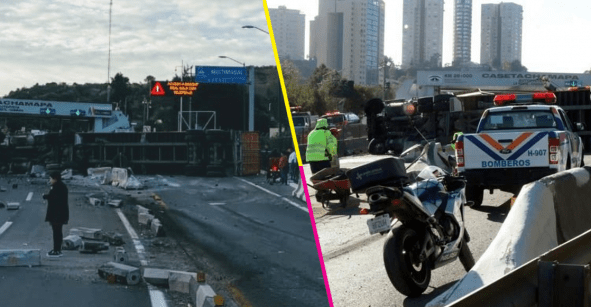 Tráiler vuelca en la autopista Chamapa-Lechería; hay al menos 4 personas heridas