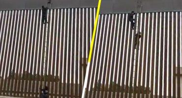 100% real: Con ayuda de una escalera migrantes logran brincar muro de Trump