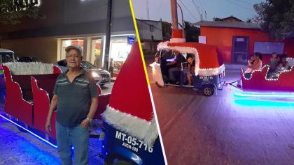 El verdadero Santa Claus: Un abuelito gastó sus ahorros en convertir su mototaxi en un trineo para pasear niños