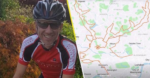 Talento nivel: Un ciclista pedaleó 9 horas para formar la imagen de un reno en una app