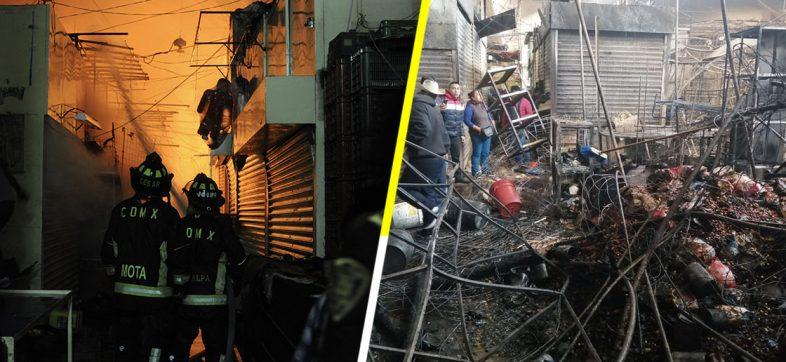 Las fotos y los videos que nos dejan dimensionar el incendio en el mercado de La Merced