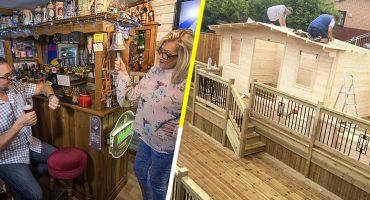 Mujer construye bar en su jardín para que su esposo no se escape por las noches con sus amigos