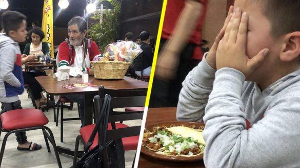 Niño le compra unos tacos a un viejito que tenía hambre y se pone a llorar