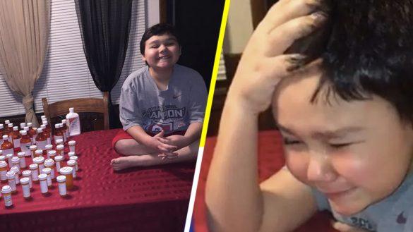 Niño de 9 años llora al tomarse su última pastilla de quimioterapia contra la leucemia