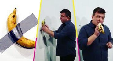 Galería de arte exhibe plátano valuado en 120 mil dólares; llega un sujeto y se lo come 😂