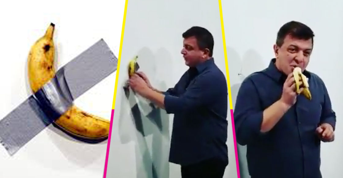 Museo exhibe plátano valuado en 120 mil dólares; llega un sujeto y se lo come