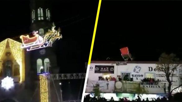 """¿Feliz Navidad? Santa Claus """"vuela"""" sobre Tlaxcala y se estrella contra un edificio"""