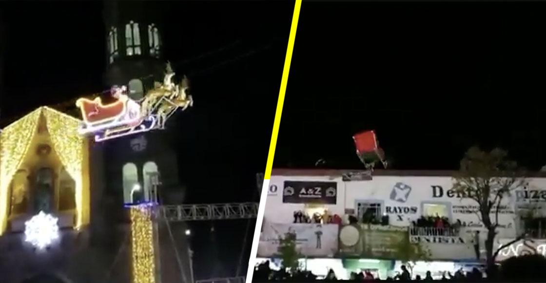 #Video 'Santa Claus' choca contra edificio en Tlaxcala