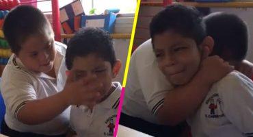 El tierno video de un niño con Síndrome de Down que consuela a su amigo con autismo