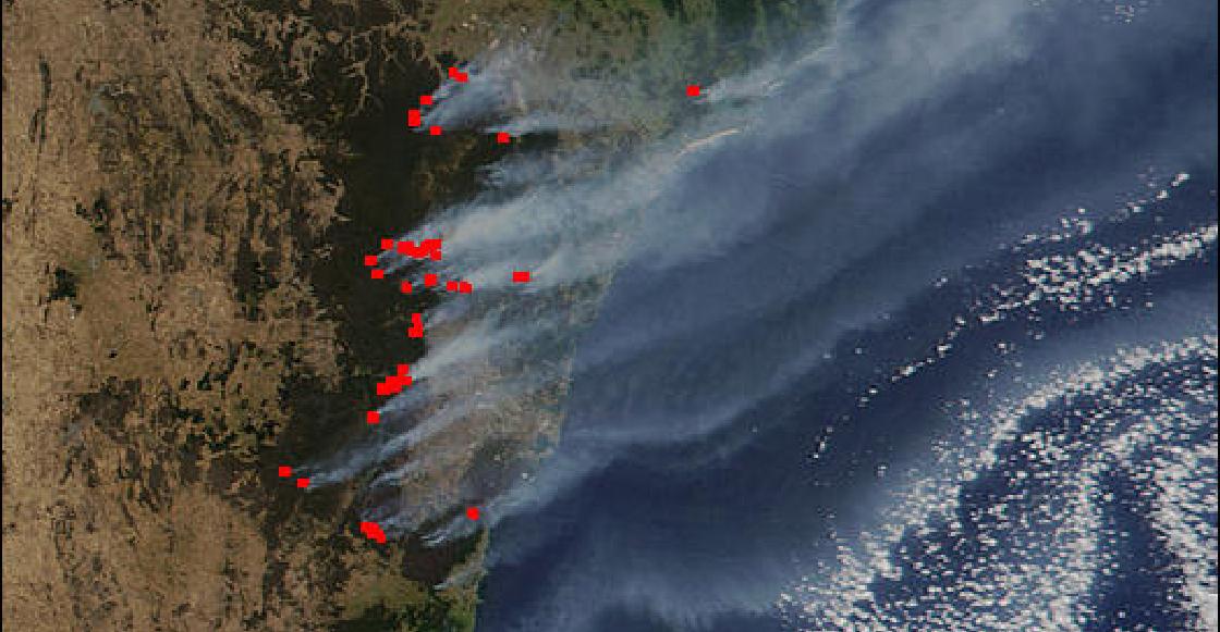 Así se ven los terribles incendios en Australia desde el espacio