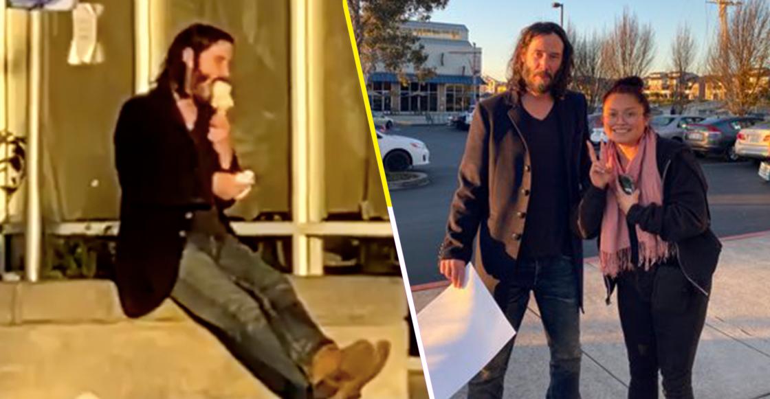 Suerte nivel: Joven sale a la calle y se topa a Keanu Reeves echándose un helado en la banqueta