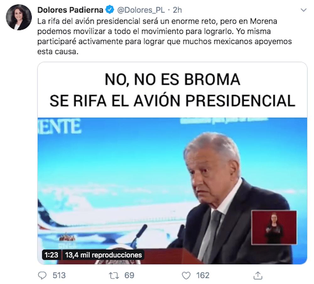dolores-padierna-avión-presidencial-amlo