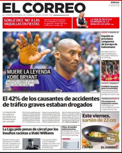 Diarios del mundo recuerdan a Kobe Bryant en sus portadas