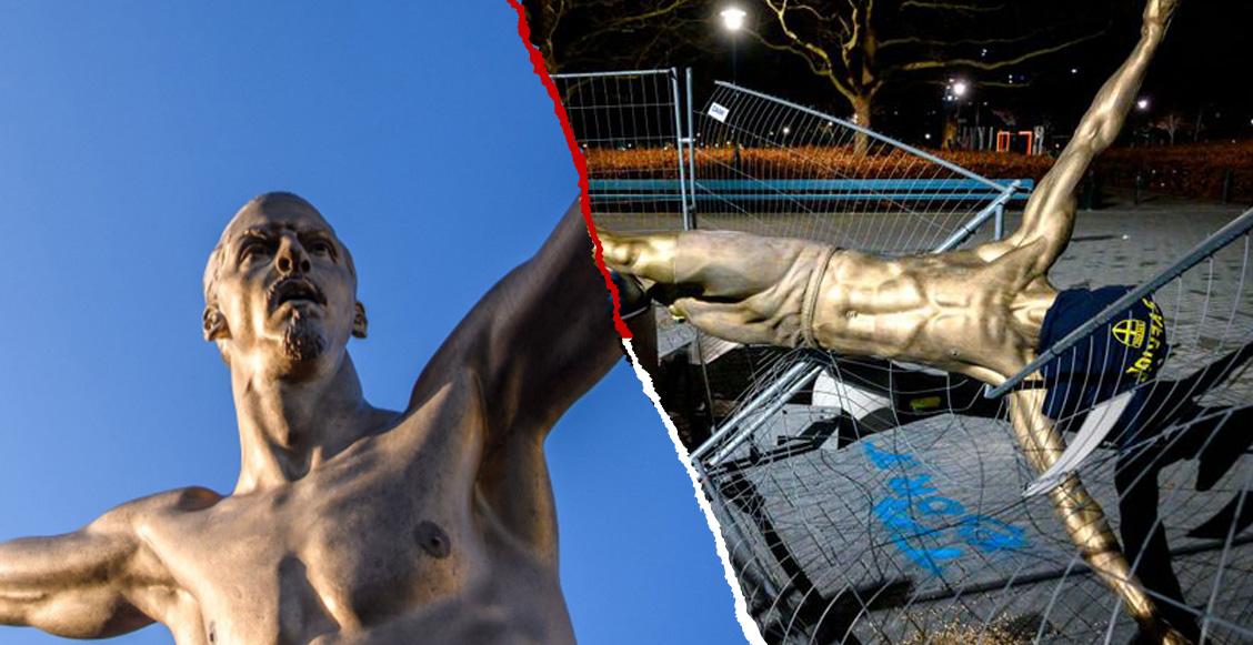 Ultras derribaron la estatua de Zlatan que estaba afuera del estadio del Malmo
