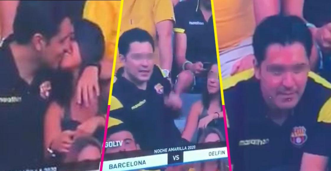 Le cayó el VAR: 'Kiss Cam' capta una infidelidad en pleno partido de futbol y es lo más incómodo que hemos visto