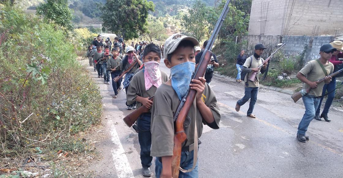 Niños son entrenados para defender a sus comunidades en Guerrero
