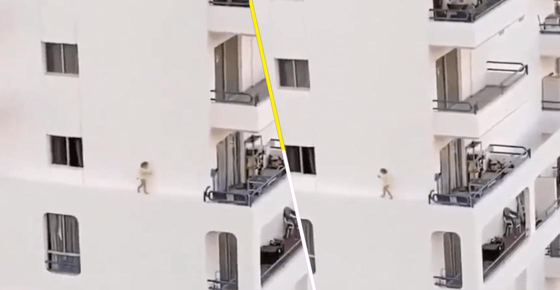 Se nos detuvo el corazón: Niña camina por la orilla de un edificio sin que nadie se diera cuenta