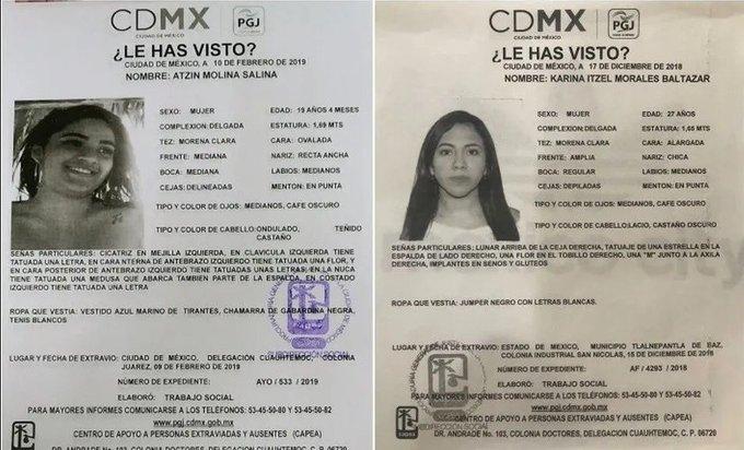 Autoridades ofrecen 4 mdp por información para localizar a novias de miembros de Unión Tepito