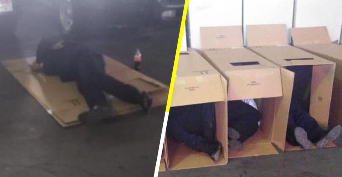 ¿Castigo ejemplar? Policías duermen en cajas de cartón por faltar a trabajar en Navidad y Año Nuevo