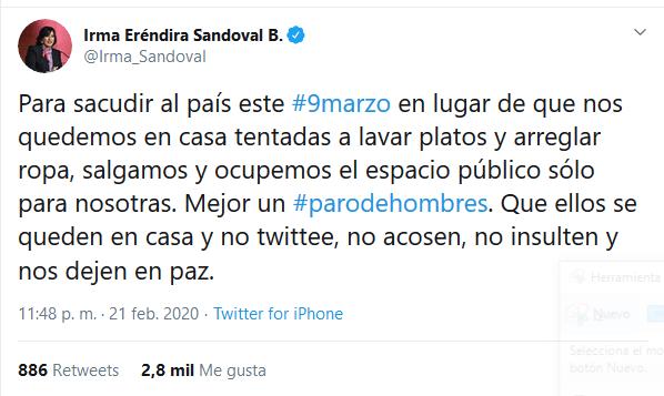 """Irma Sandoval propone paro de hombres para que las mujeres no se vean """"tentadas a lavar platos"""""""