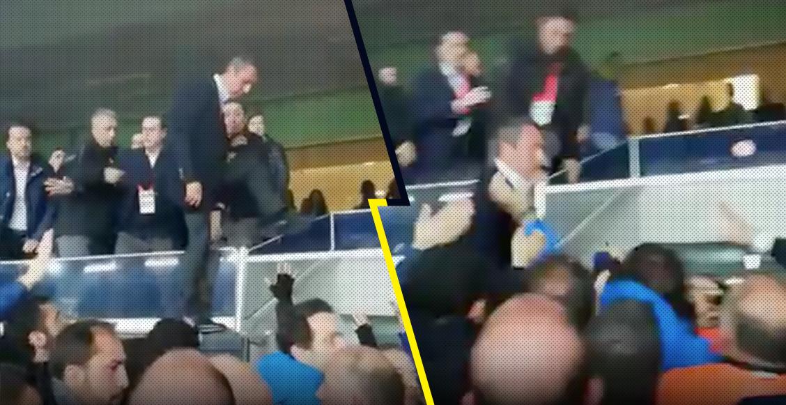 Fanatismo nivel: Presidente del Fenerbahce saltó del palco para agarrarse a golpes con los aficionados